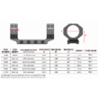 Precíziós Szerelék Picattiny sínre / Warne  Skyline 35mm / 1 db-os Matt  Középmagas/ 7841